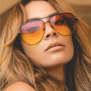 QUAY x DESI Sahara Yellow Orange Aviator Sunnies
